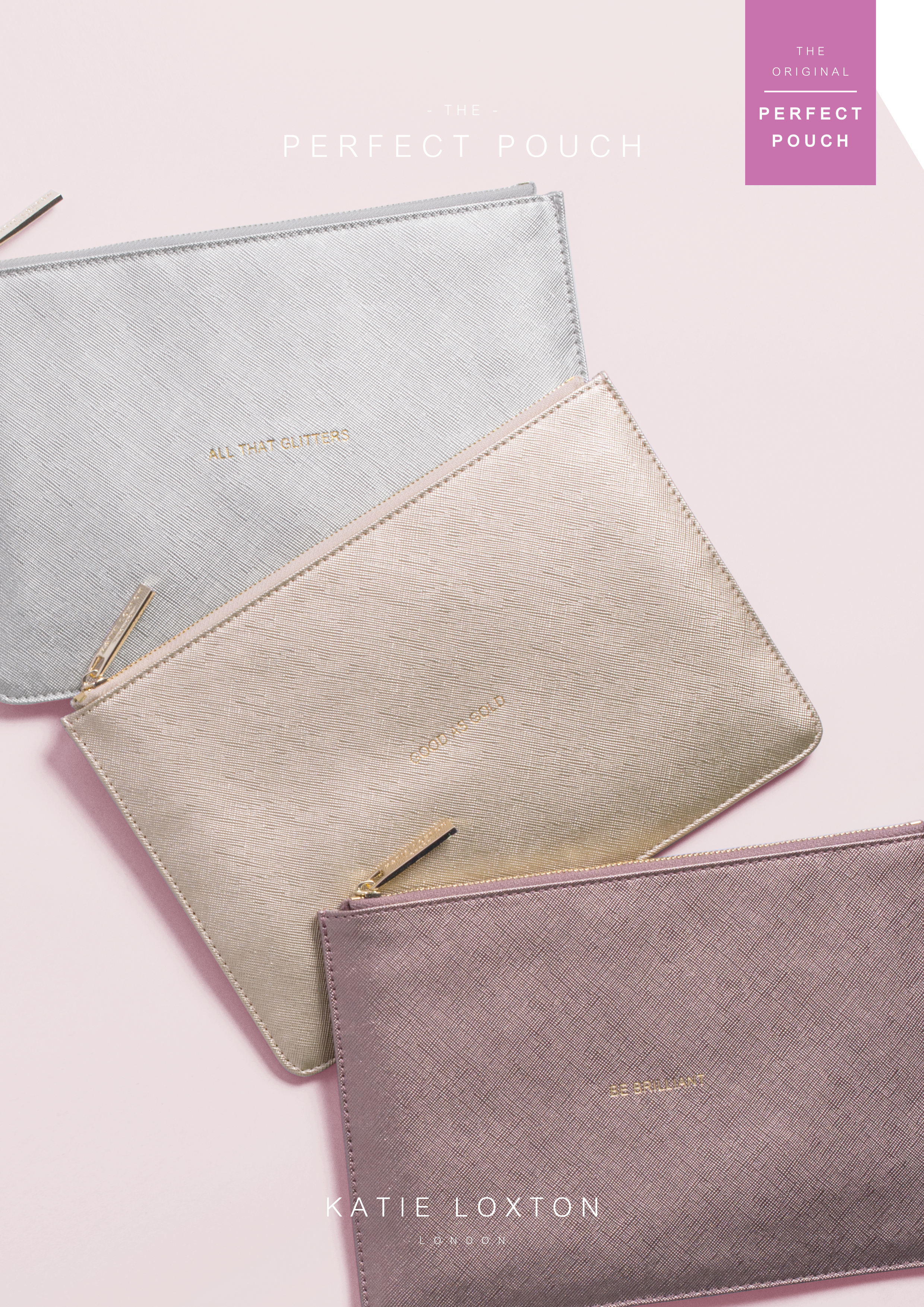 Katie Loxton Perfect Pouch gold shimmer /'HELLO WEEKEND/' with gift bag and tag